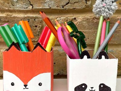 Milk carton pen pots
