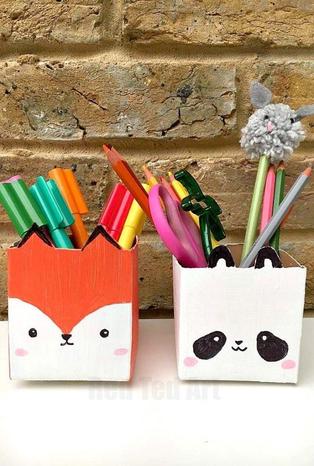Milk carton pen pots