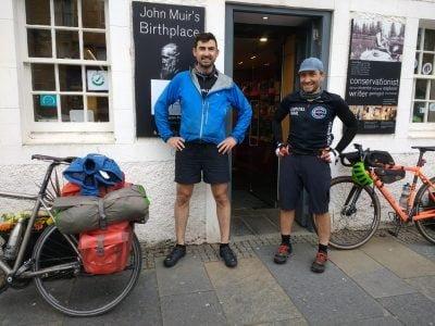 Simon and Markus outside John Muir'sBirthplace