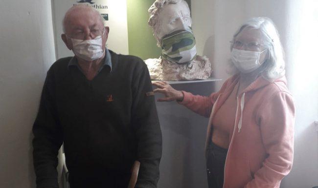 JAnice and David Simpson with Janice's bust of John Muir